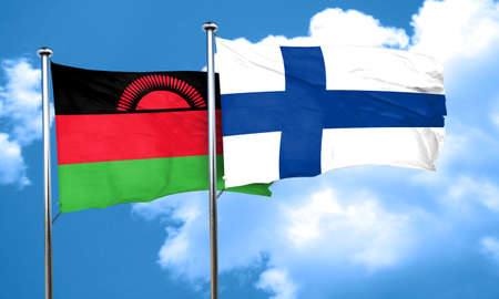 FINLAND flag: Malawi flag with Finland flag, 3D rendering