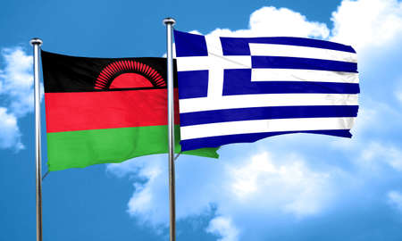 greece flag: Malawi flag with Greece flag, 3D rendering