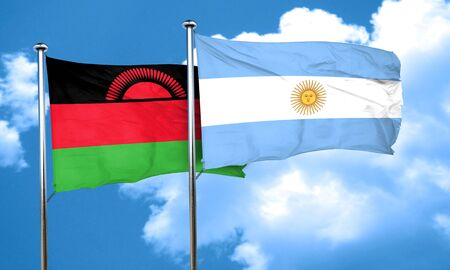 argentine: Malawi flag with Argentine flag, 3D rendering Stock Photo