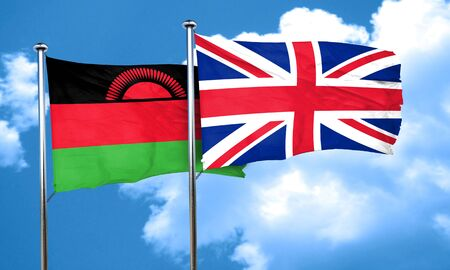 britain flag: Malawi flag with Great Britain flag, 3D rendering