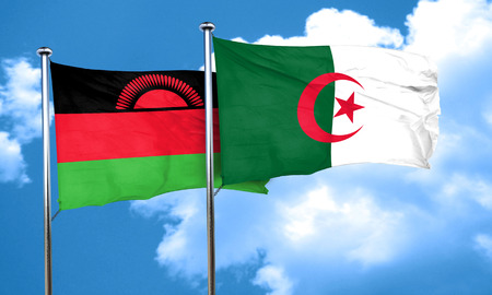 malawi flag: Malawi flag with Algeria flag, 3D rendering Stock Photo