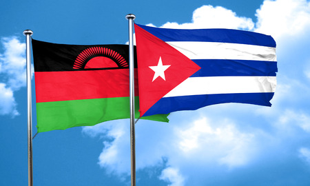 cuba flag: Malawi flag with cuba flag, 3D rendering Stock Photo