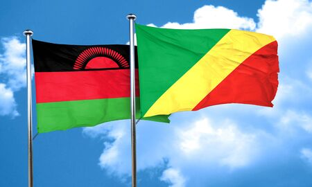 malawi flag: Malawi flag with congo flag, 3D rendering