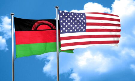 malawi: Malawi flag with American flag, 3D rendering