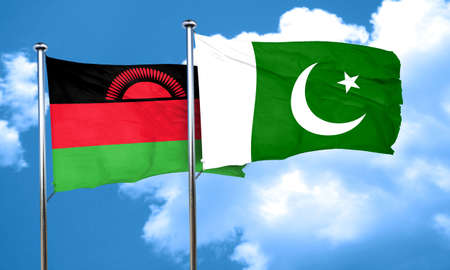 malawi flag: Malawi flag with Pakistan flag, 3D rendering