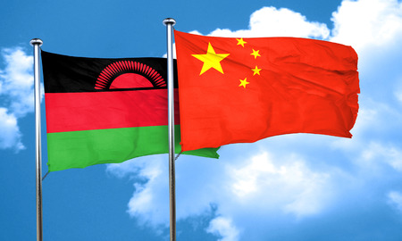 malawi flag: Malawi flag with China flag, 3D rendering