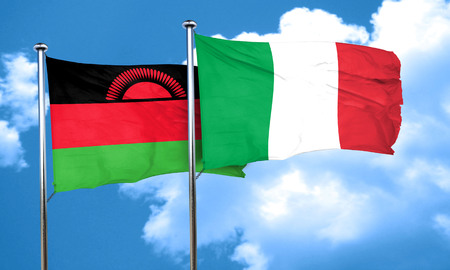 malawi: Malawi flag with Italy flag, 3D rendering