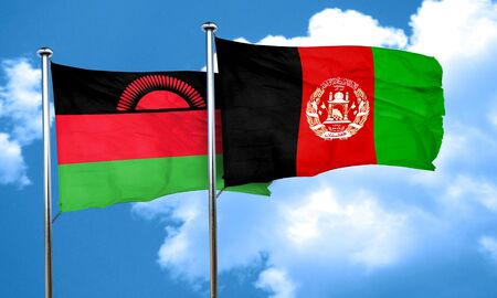 afghanistan flag: Malawi flag with afghanistan flag, 3D rendering Stock Photo