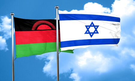 malawi flag: Malawi flag with Israel flag, 3D rendering