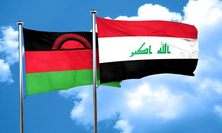 malawi flag: Malawi flag with Iraq flag, 3D rendering Stock Photo