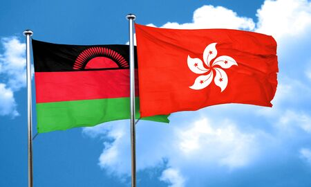 malawi flag: Malawi flag with Hong Kong flag, 3D rendering Stock Photo