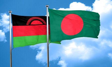 malawi: Malawi flag with Bangladesh flag, 3D rendering Stock Photo