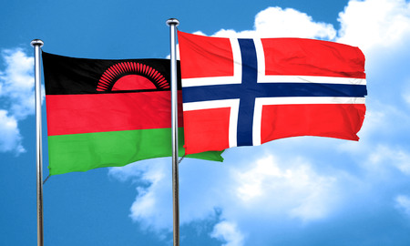 norway flag: Malawi flag with Norway flag, 3D rendering