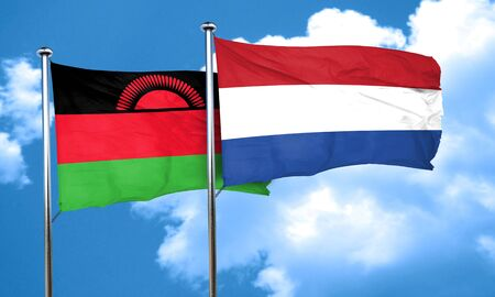 malawi flag: Malawi flag with Netherlands flag, 3D rendering