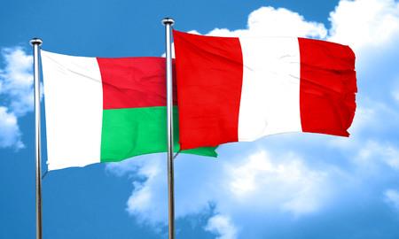 bandera peru: bandera de Madagascar con la bandera de Per�, 3D