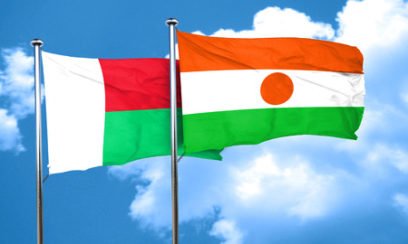 madagascar: Madagascar flag with Niger flag, 3D rendering