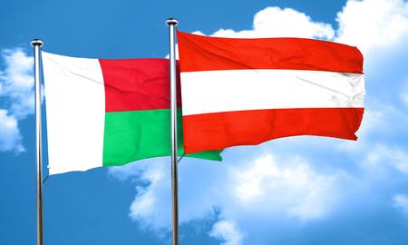austria flag: Madagascar flag with Austria flag, 3D rendering