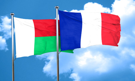 madagascar: Madagascar flag with France flag, 3D rendering