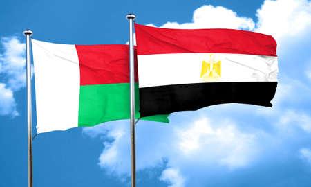 bandera egipto: bandera de Madagascar con bandera de egipto, 3D