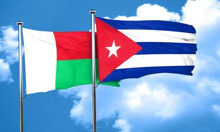 cuba flag: Madagascar flag with cuba flag, 3D rendering