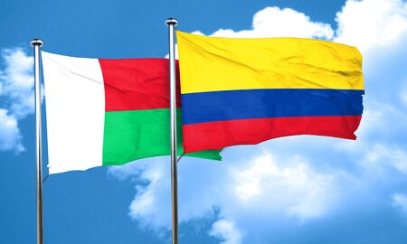 madagascar: Madagascar flag with Colombia flag, 3D rendering