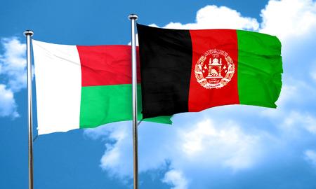 Madagascar flag with afghanistan flag, 3D rendering