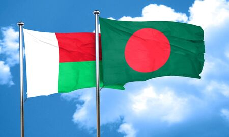bangladesh: Madagascar flag with Bangladesh flag, 3D rendering Stock Photo