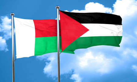 flag: Madagascar flag with Palestine flag, 3D rendering Stock Photo