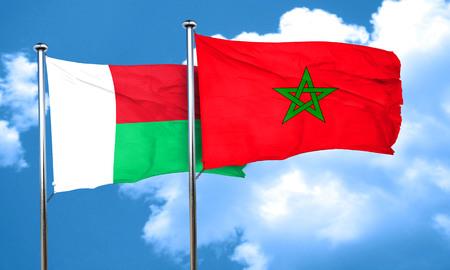 madagascar: Madagascar flag with Morocco flag, 3D rendering