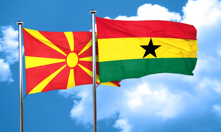 ghanese: Macedonia flag with Ghana flag, 3D rendering