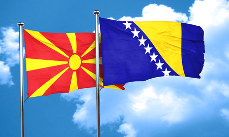 bosnia: Macedonia flag with Bosnia and Herzegovina flag, 3D rendering