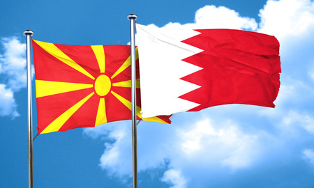 macedonia: Macedonia flag with Bahrain flag, 3D rendering