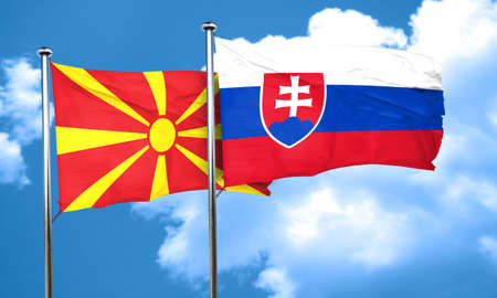 macedonia: Macedonia flag with Slovakia flag, 3D rendering