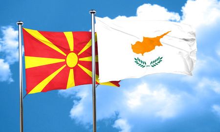 macedonia: Macedonia flag with Cyprus flag, 3D rendering
