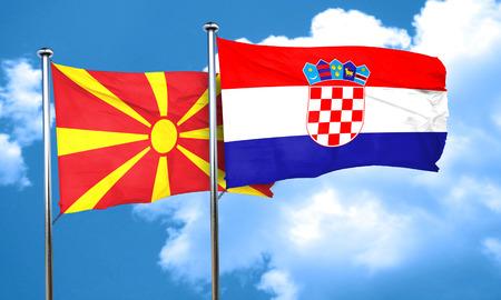 bandera de croacia: bandera de Macedonia con la bandera de Croacia, 3D Foto de archivo