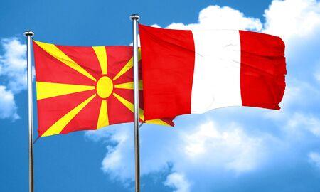 bandera peru: bandera de Macedonia con la bandera de Per�, 3D