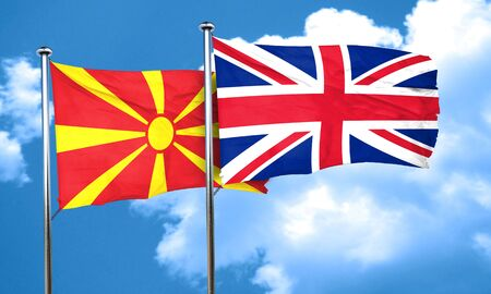 england politics: Macedonia flag with Great Britain flag, 3D rendering