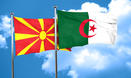 macedonia: Macedonia flag with Algeria flag, 3D rendering