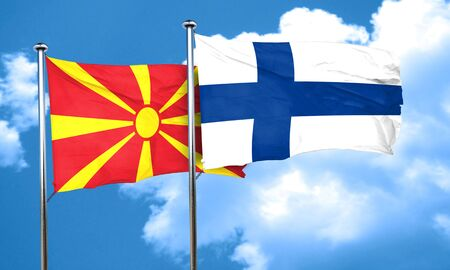 FINLAND flag: Macedonia flag with Finland flag, 3D rendering Stock Photo