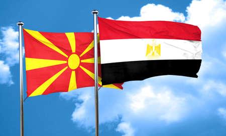 bandera egipto: bandera de Macedonia con la bandera de Egipto, 3D