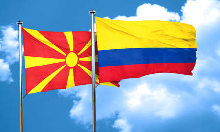 colombia flag: Macedonia flag with Colombia flag, 3D rendering Stock Photo