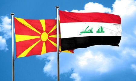 iraq flag: Macedonia flag with Iraq flag, 3D rendering