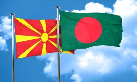 bangladesh: Macedonia flag with Bangladesh flag, 3D rendering