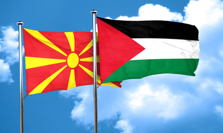 macedonian flag: Macedonia flag with Palestine flag, 3D rendering