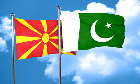 pakistan flag: Macedonia flag with Pakistan flag, 3D rendering