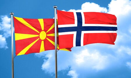 norway flag: Macedonia flag with Norway flag, 3D rendering Stock Photo