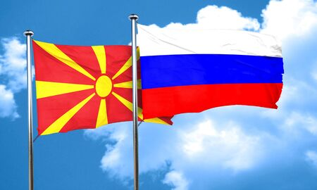 macedonia: Macedonia flag with Russia flag, 3D rendering