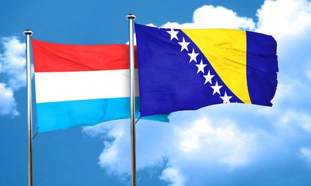 bosnia and herzegovina flag: Luxembourg flag with Bosnia and Herzegovina flag, 3D rendering
