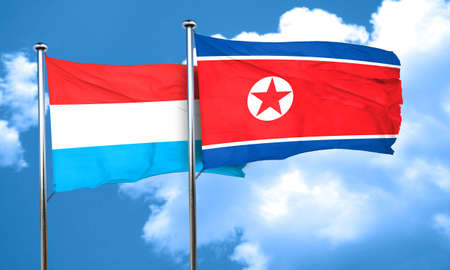 korea flag: Luxembourg flag with North Korea flag, 3D rendering Stock Photo