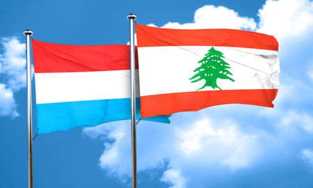 lebanon: Luxembourg flag with Lebanon flag, 3D rendering